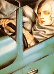 "In its issue of October 3rd, 1928, the very widely read weekly ""Vu"" published a cover picture by Kertèsz, featuring a young lady at the wheel of a sports car. The picture caption specified that the model's sports outfit, her gloves and her leather cap, were all from Hermès. Lempicka wears exactly the same accessories in her self-portrait, which was obviously inspired by the Kertèsz photo."