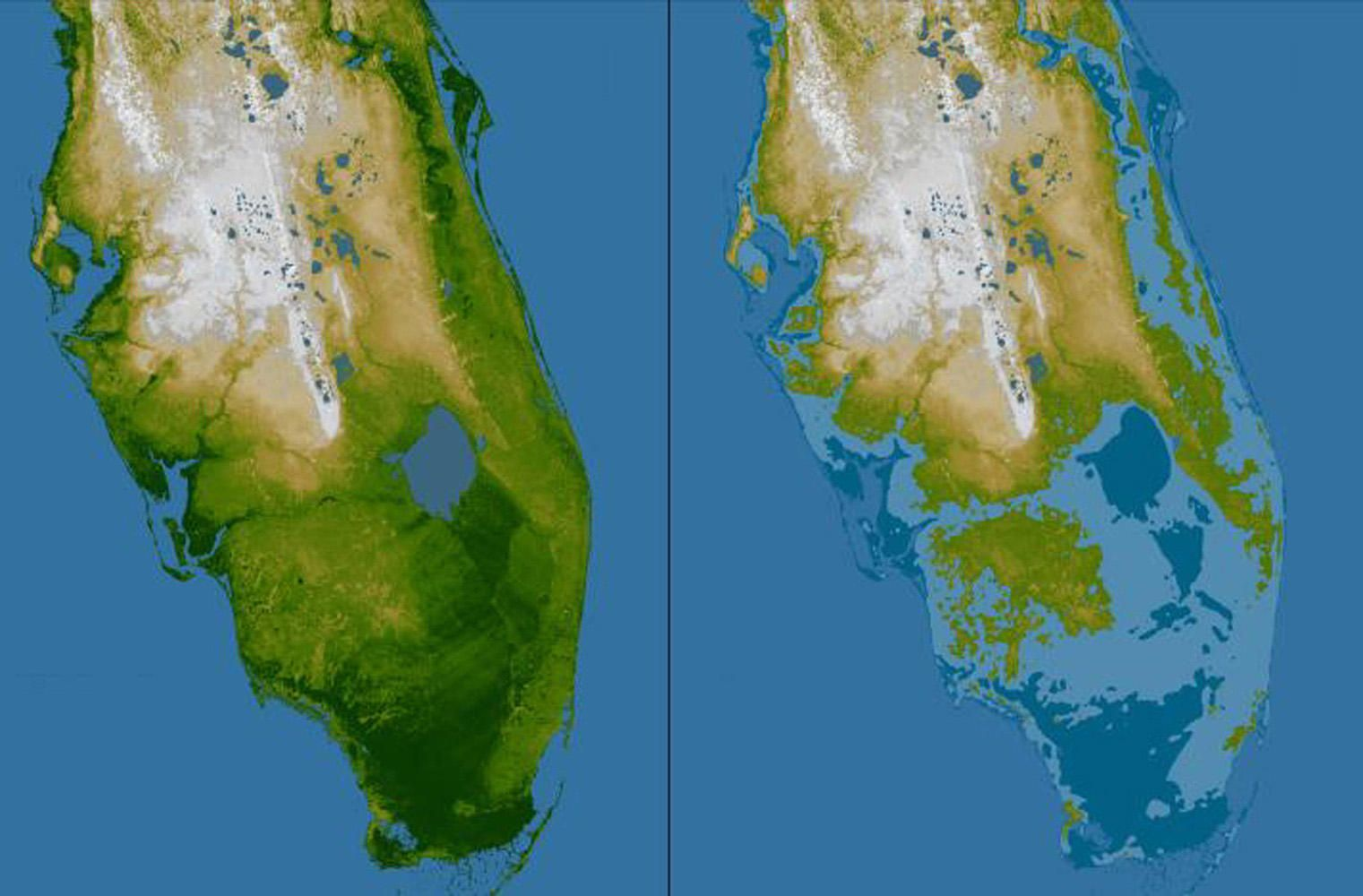 Florida before and after sea level rise